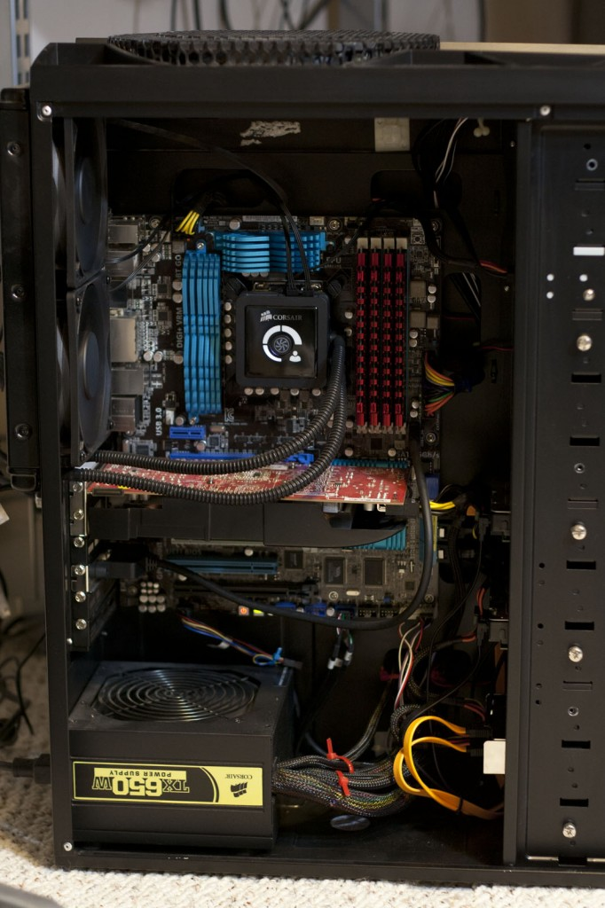 Interior of the Antec 1200 with all components installed and cables nicely tucked away.