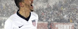 U.S. defender Geoff Cameron enjoys the snow following a 1-0 victory over Costa Rica. Source: Jack Dempsey/Associated Press via WashingtonPost.com