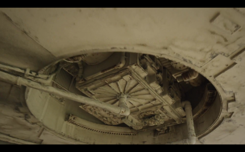 Underneath the forward mandibles of the Millenium Falcon.