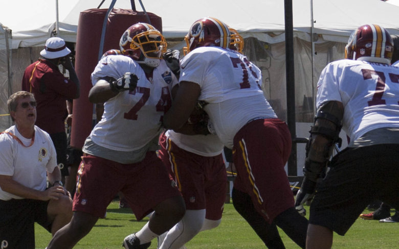 Offensive lineman drills #SkinsCamp Redskins Training Camp 2015